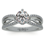 Twisted Split Shank Diamond Engagement Ring in White Gold | Thumbnail 01