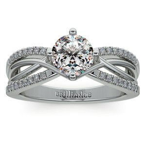 Twisted Split Shank Diamond Engagement Ring in White Gold