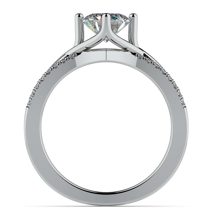 Twisted Split Shank Diamond Engagement Ring in White Gold | 02
