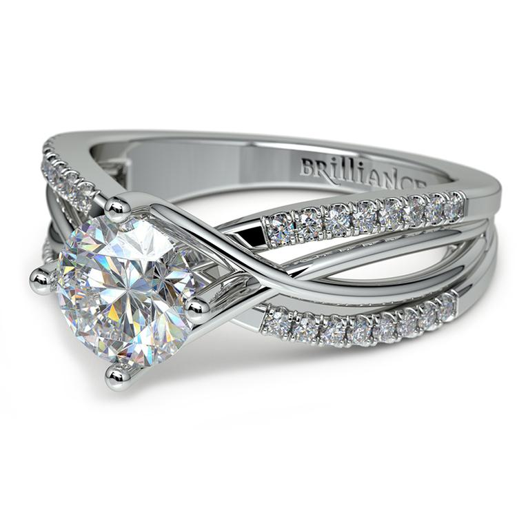 Twisted Split Shank Diamond Engagement Ring in White Gold | 04