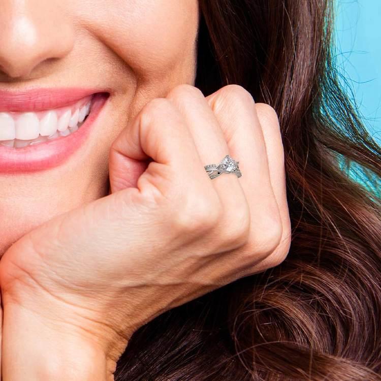 Twisted Split Shank Diamond Engagement Ring in White Gold | 06