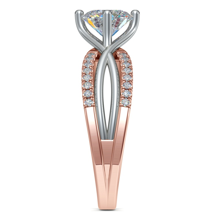 Twisted Split Shank Diamond Engagement Ring in White and Rose Gold | 03
