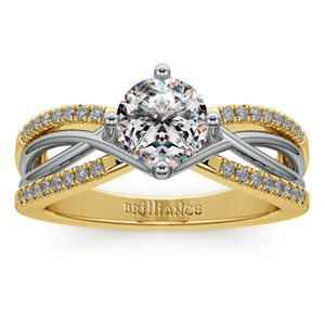 Twisted Split Shank Diamond Engagement Ring in White and Yellow Gold