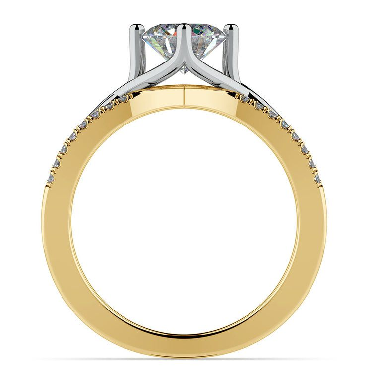 Twisted Split Shank Diamond Engagement Ring in White and Yellow Gold | 02
