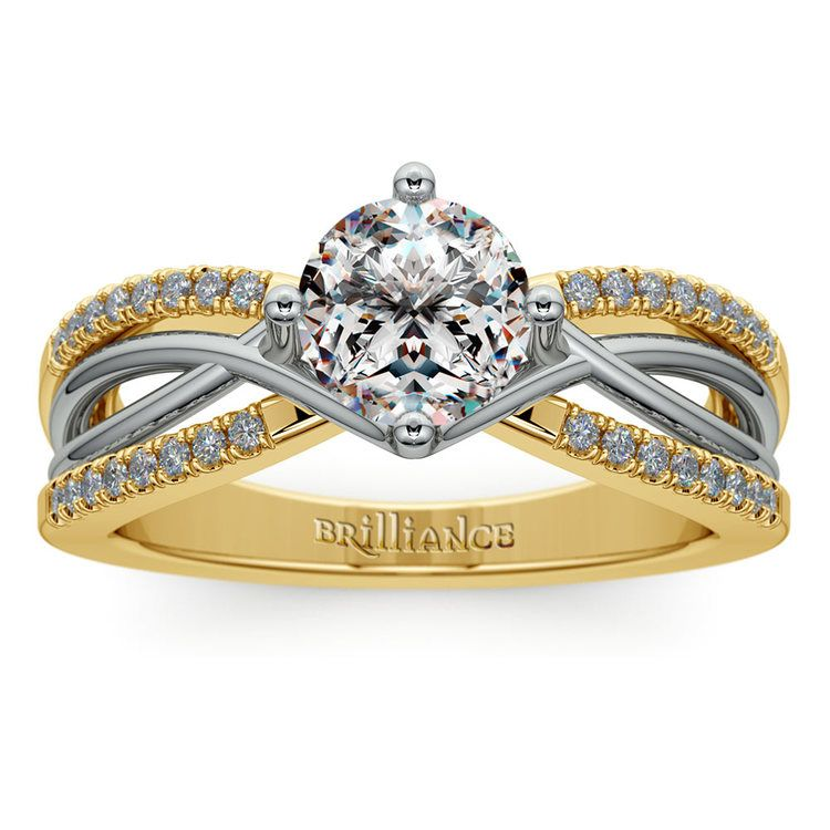 Twisted Split Shank Diamond Engagement Ring in White and Yellow Gold | 01