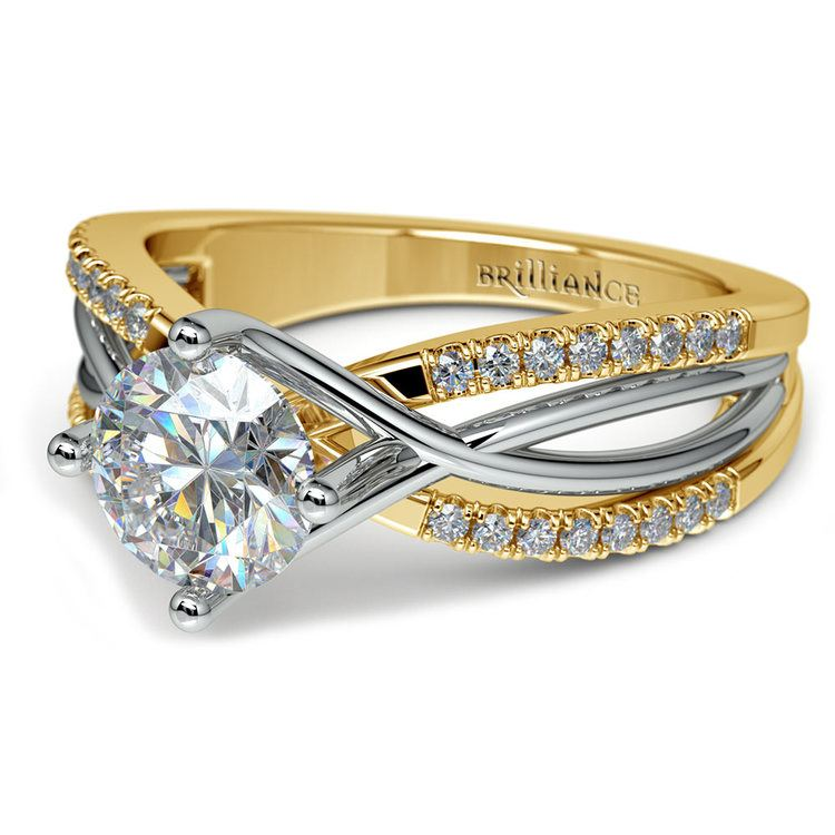 Twisted Split Shank Diamond Engagement Ring in White and Yellow Gold | 04