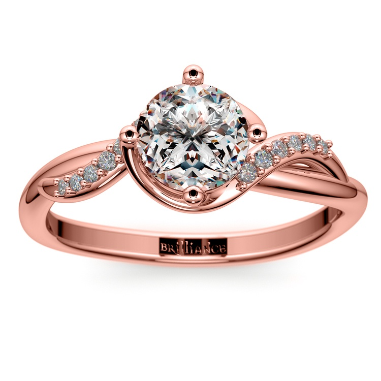 Twisted Vintage Diamond Engagement Ring in Rose Gold | 01