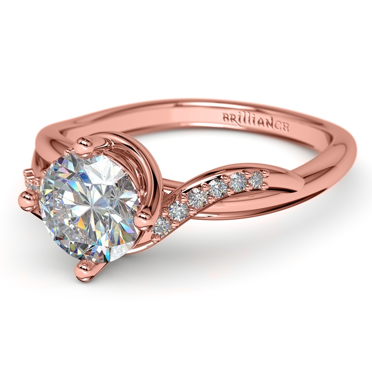 Twisted Vintage Diamond Engagement Ring in Rose Gold | 04