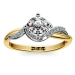 Twisted Vintage Diamond Engagement Ring in Two-Tone Gold | Thumbnail 01