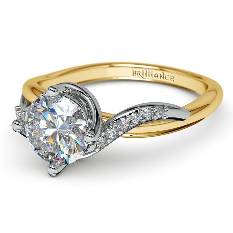 Twisted Vintage Diamond Engagement Ring in Two-Tone Gold | 04