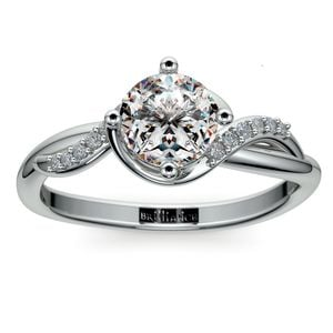 Twisted Vintage Diamond Engagement Ring in White Gold