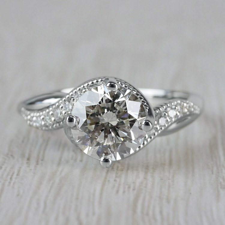 Twisted Vintage Diamond Engagement Ring in White Gold   05