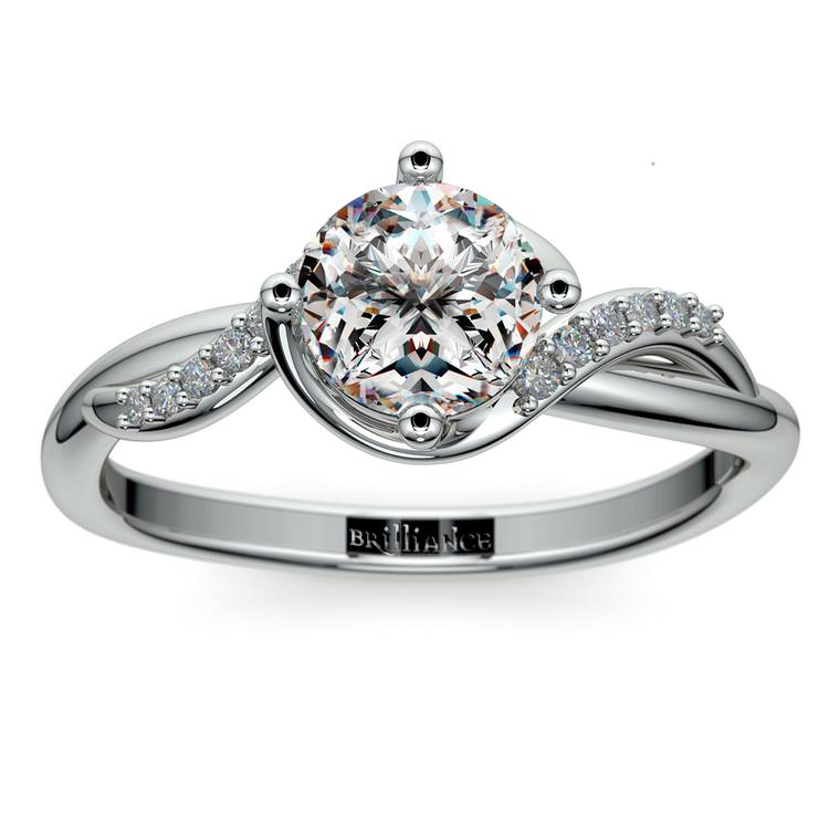 Twisted Vintage Diamond Engagement Ring in White Gold | 01