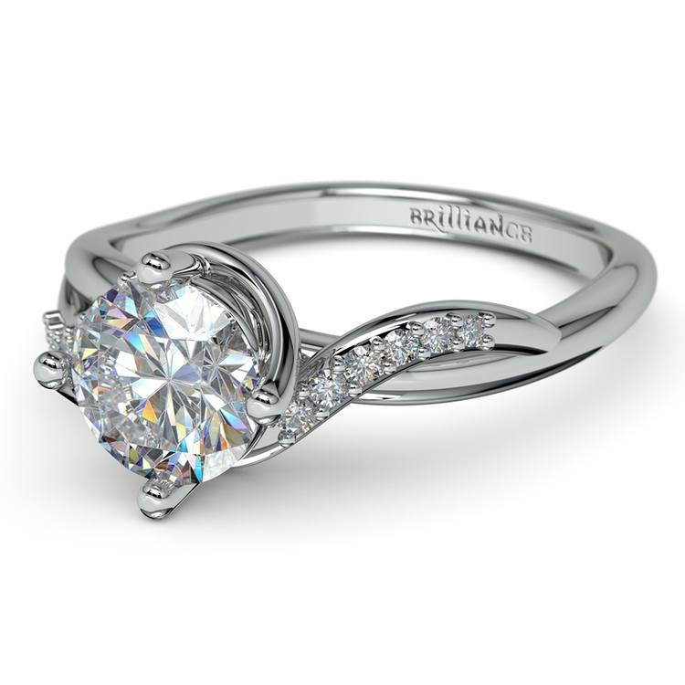 Twisted Vintage Diamond Engagement Ring in White Gold | 04