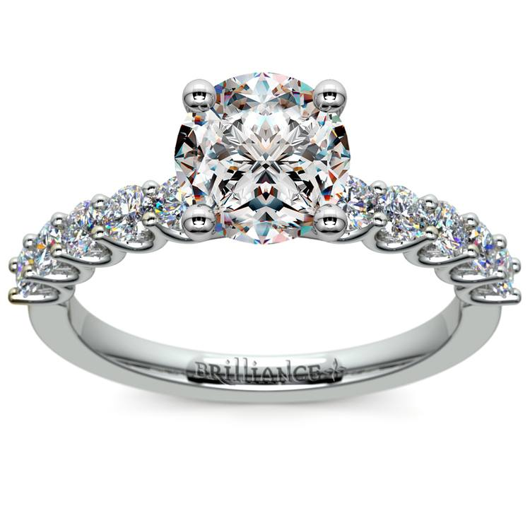 U-Prong Diamond Engagement Ring in Platinum   01
