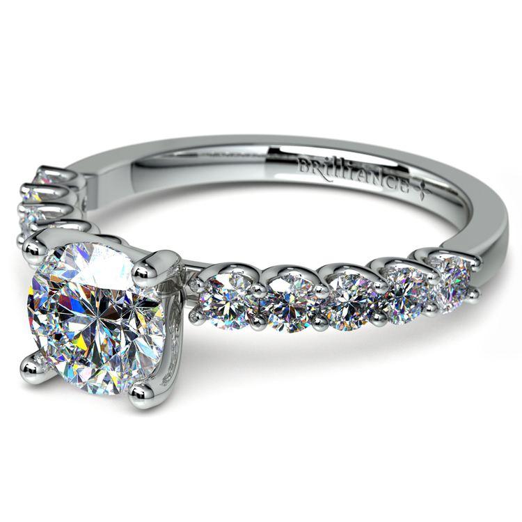 U-Prong Diamond Engagement Ring in Platinum   04
