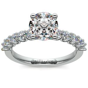 U-Prong Diamond Engagement Ring in White Gold