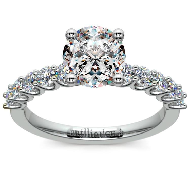 U-Prong Diamond Engagement Ring in White Gold | 01