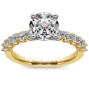 U-Prong Diamond Engagement Ring in Yellow Gold