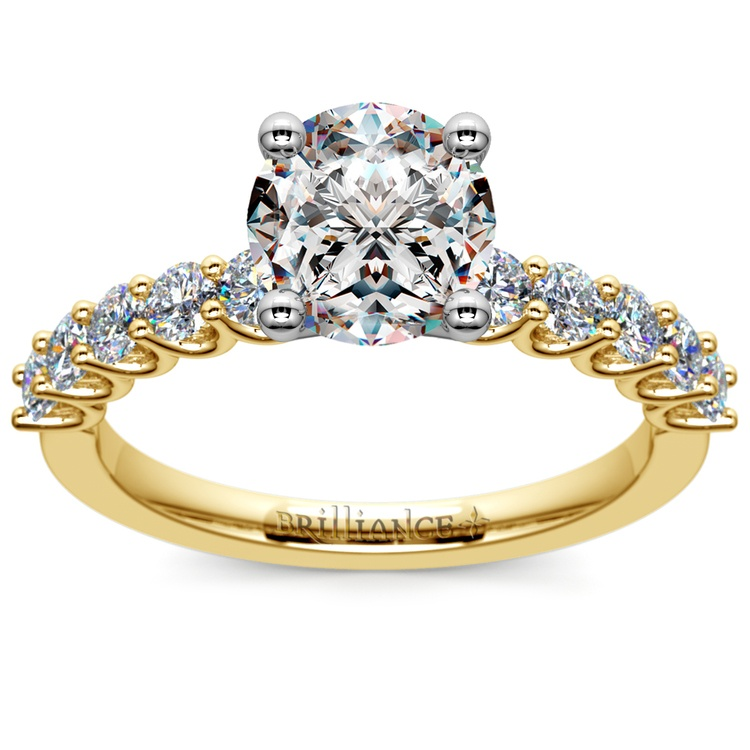 U-Prong Diamond Engagement Ring in Yellow Gold | 01