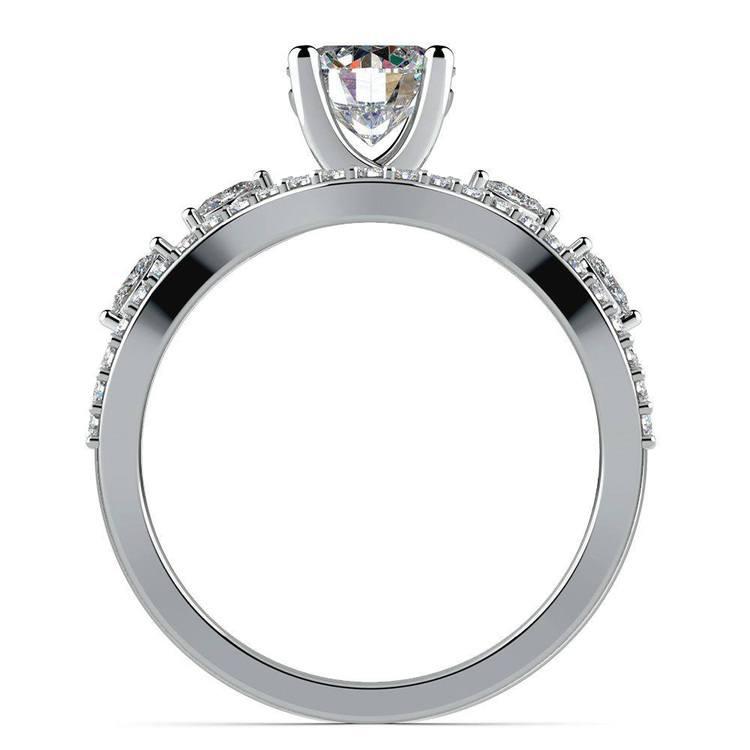 Vine Engagement Ring In Platinum - Diamond Bridal Set   02