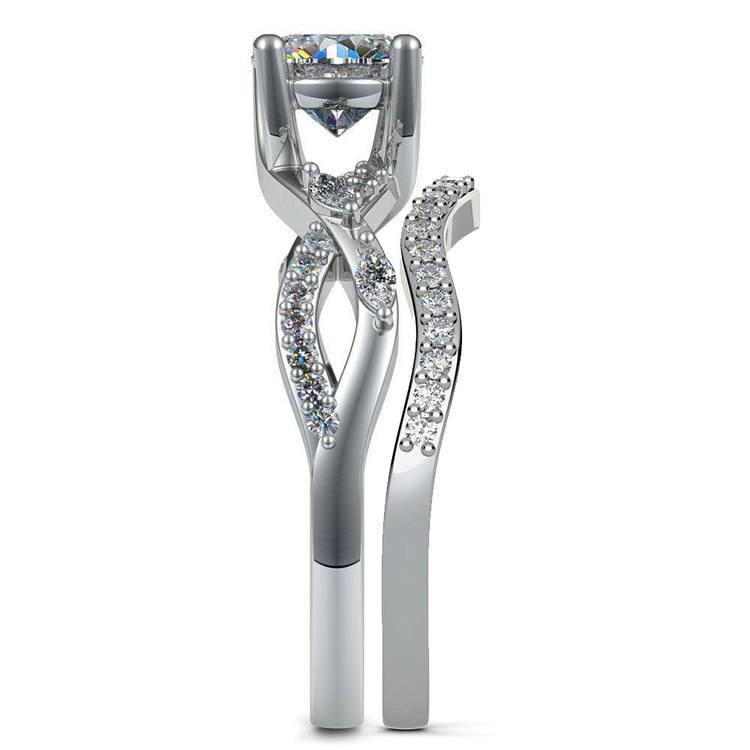 Vine Engagement Ring In Platinum - Diamond Bridal Set   03