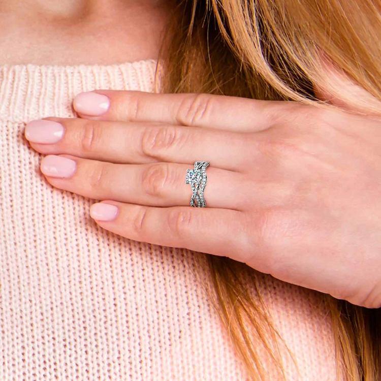 Vine Engagement Ring In Platinum - Diamond Bridal Set   07