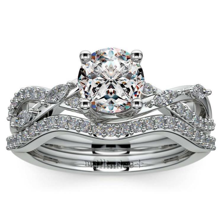 Vine Engagement Ring In White Gold - Diamond Bridal Set | 01