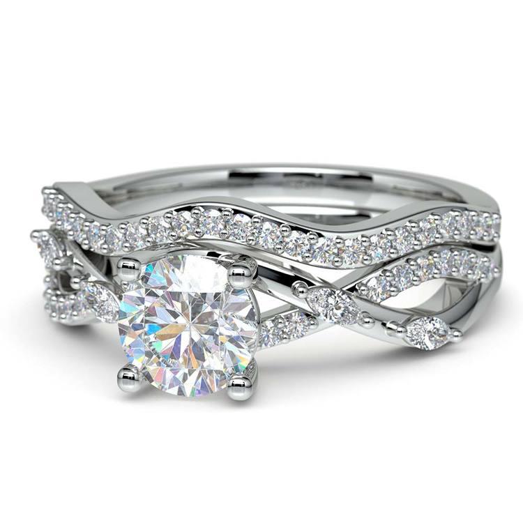 Vine Engagement Ring In White Gold - Diamond Bridal Set | 04