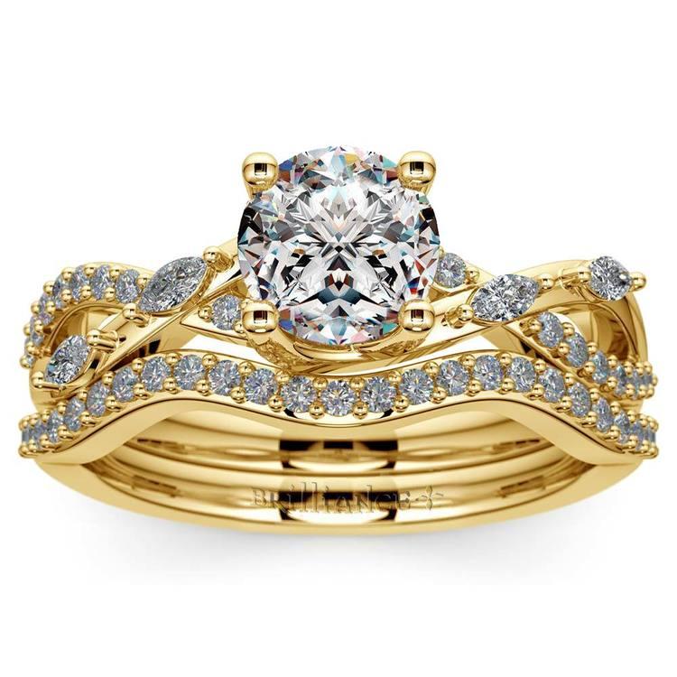 Vine Engagement Ring In Yellow Gold - Diamond Bridal Set   01