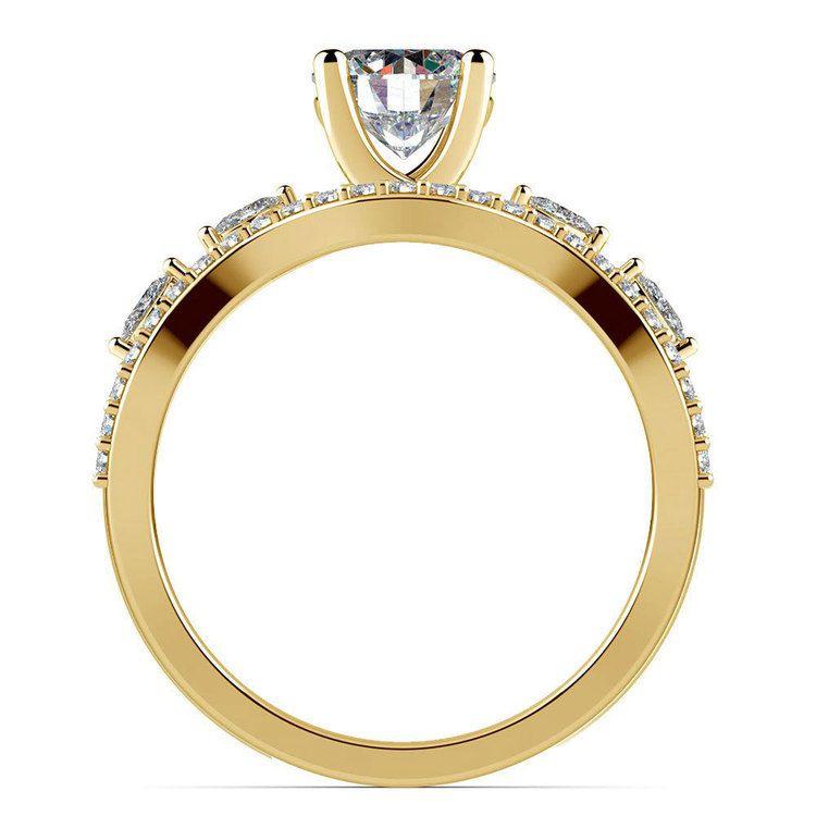 Vine Engagement Ring In Yellow Gold - Diamond Bridal Set   02