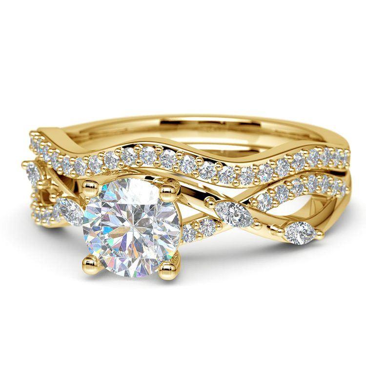 Vine Engagement Ring In Yellow Gold - Diamond Bridal Set   04