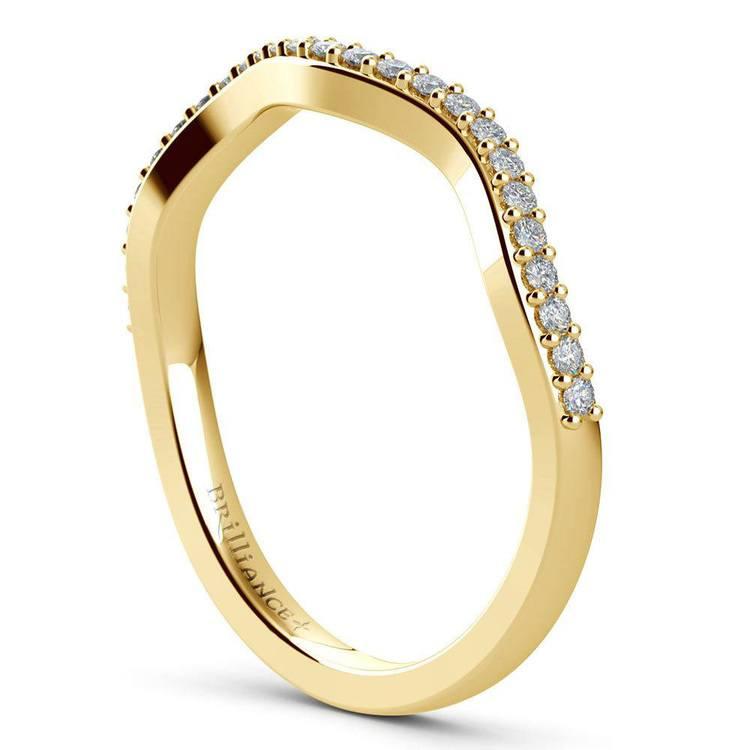 Vine Engagement Ring In Yellow Gold - Diamond Bridal Set   05