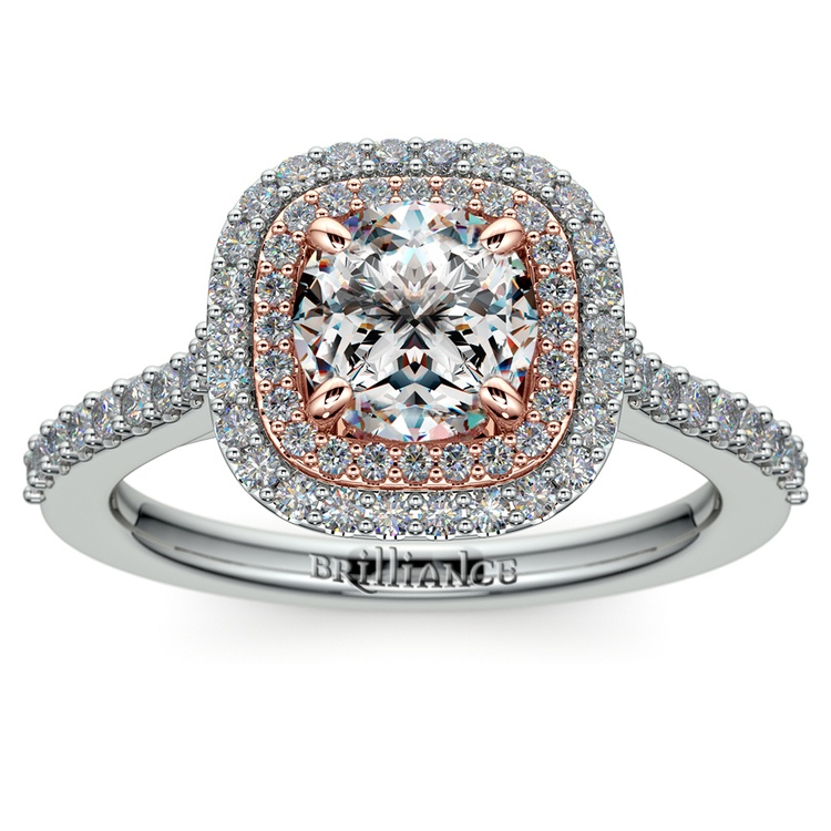 Vintage Double Halo Engagement Ring In Platinum & Rose Gold | 01
