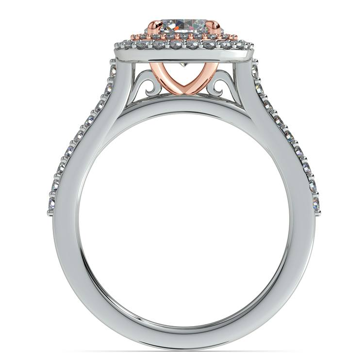 Vintage Double Halo Engagement Ring In Platinum & Rose Gold | 02