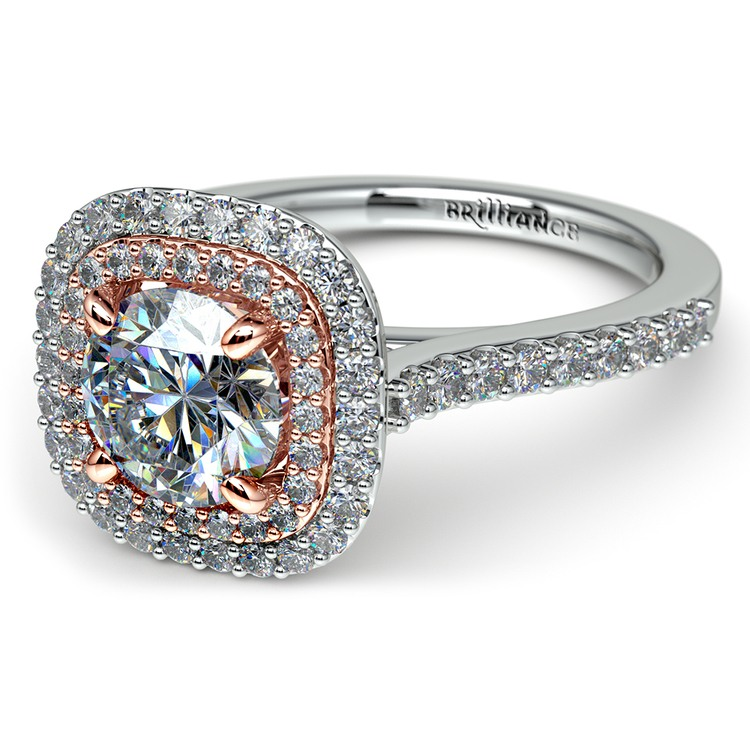 Vintage Double Halo Engagement Ring In Platinum & Rose Gold | 04