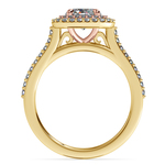 Vintage Double Halo Engagement Ring in Yellow & Rose Gold | Thumbnail 02