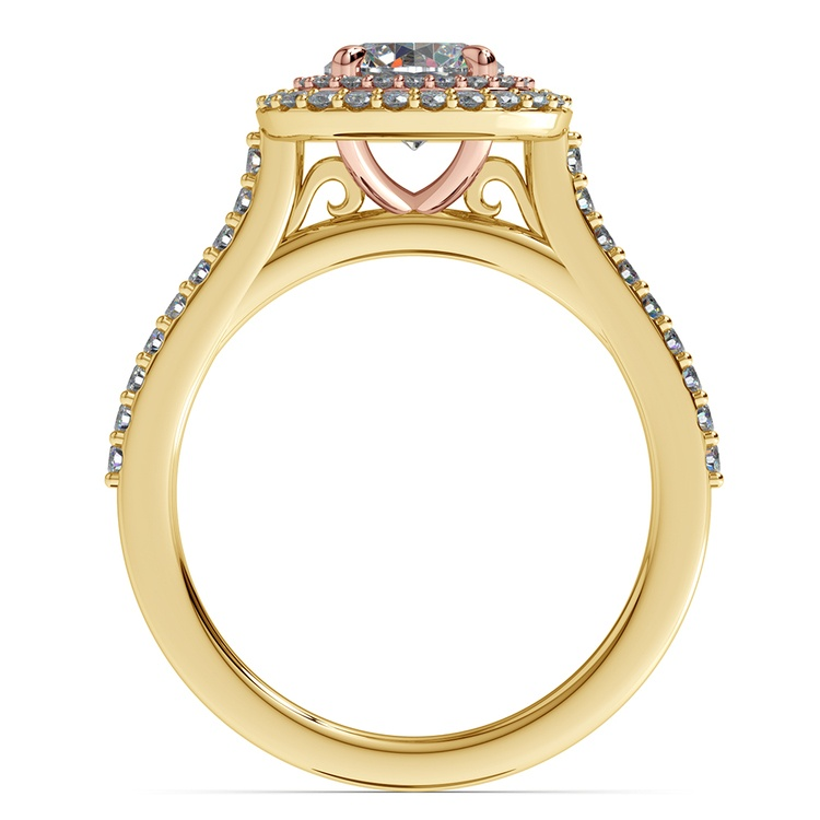 Vintage Double Halo Engagement Ring in Yellow & Rose Gold | 02