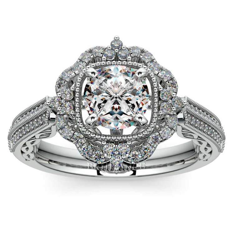 Vintage Halo Diamond Engagement Ring In Platinum | 01