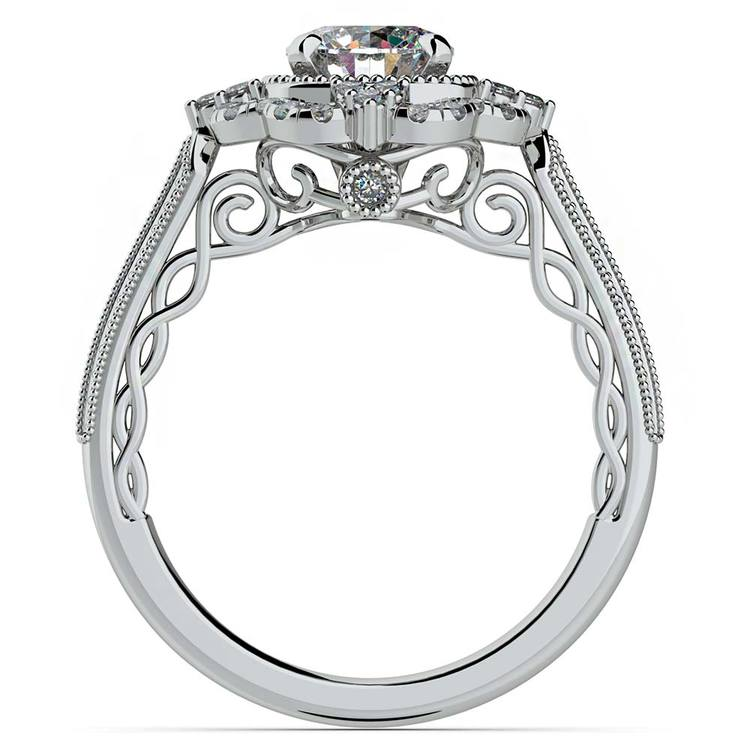 Vintage Halo Diamond Engagement Ring In Platinum | 02
