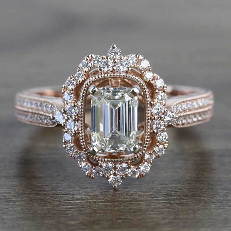 Vintage Halo Diamond Engagement Ring In Rose Gold | 05