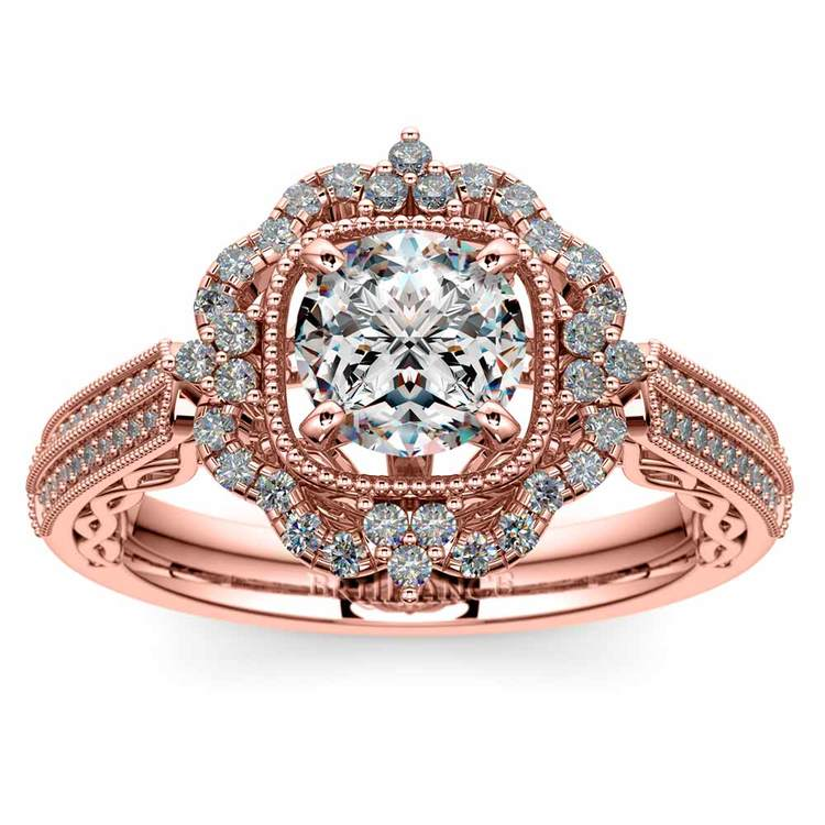 Vintage Halo Diamond Engagement Ring In Rose Gold | 01