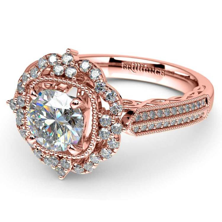 Vintage Halo Diamond Engagement Ring In Rose Gold | 04