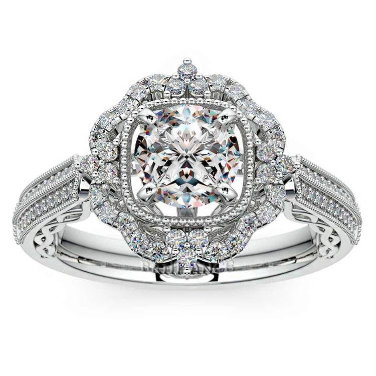 Vintage Halo Diamond Engagement Ring In White Gold | 01