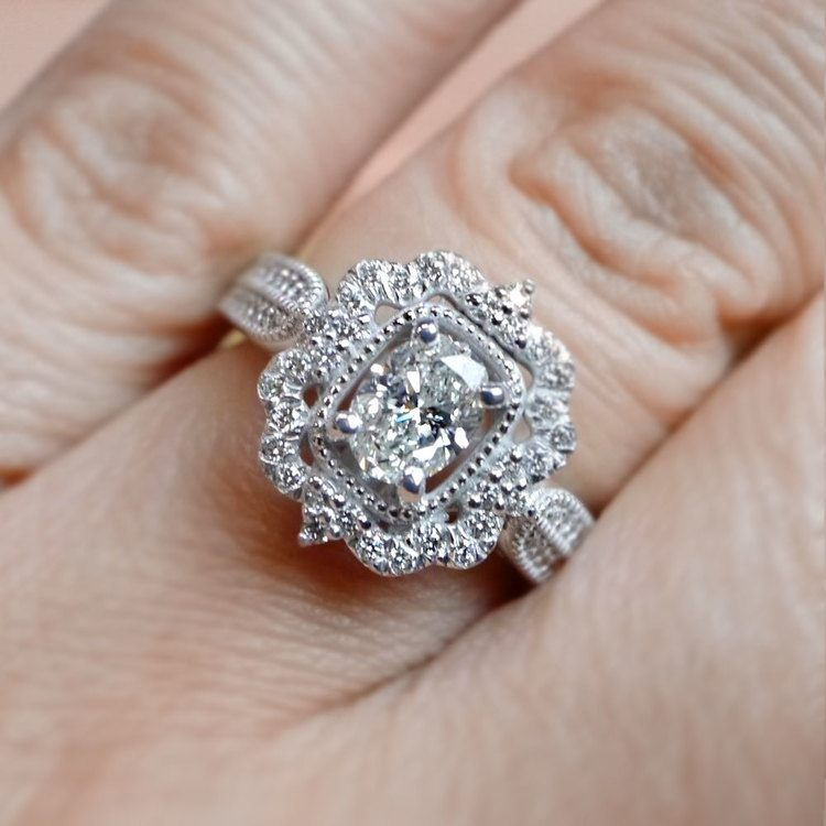 Vintage Halo Diamond Engagement Ring In White Gold | 05
