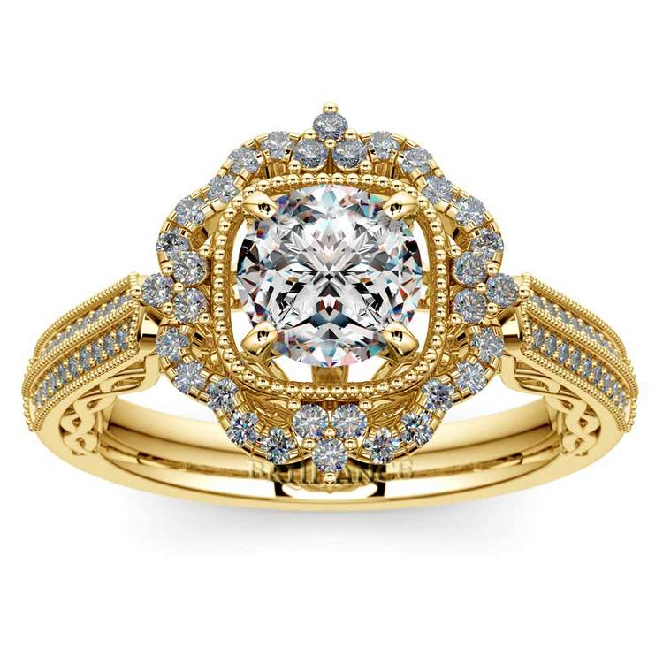 Vintage Halo Diamond Engagement Ring in Yellow Gold | 01