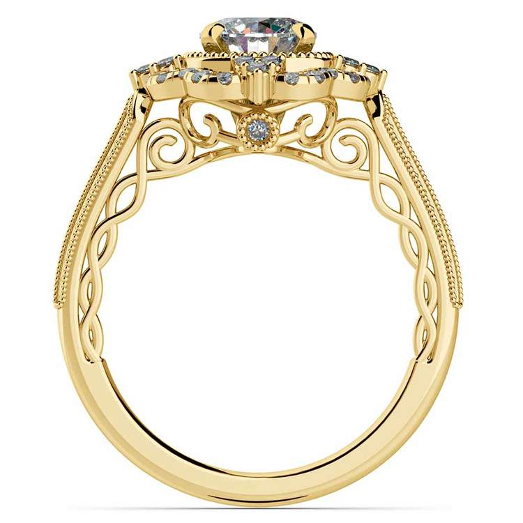Vintage Halo Diamond Engagement Ring in Yellow Gold | 02