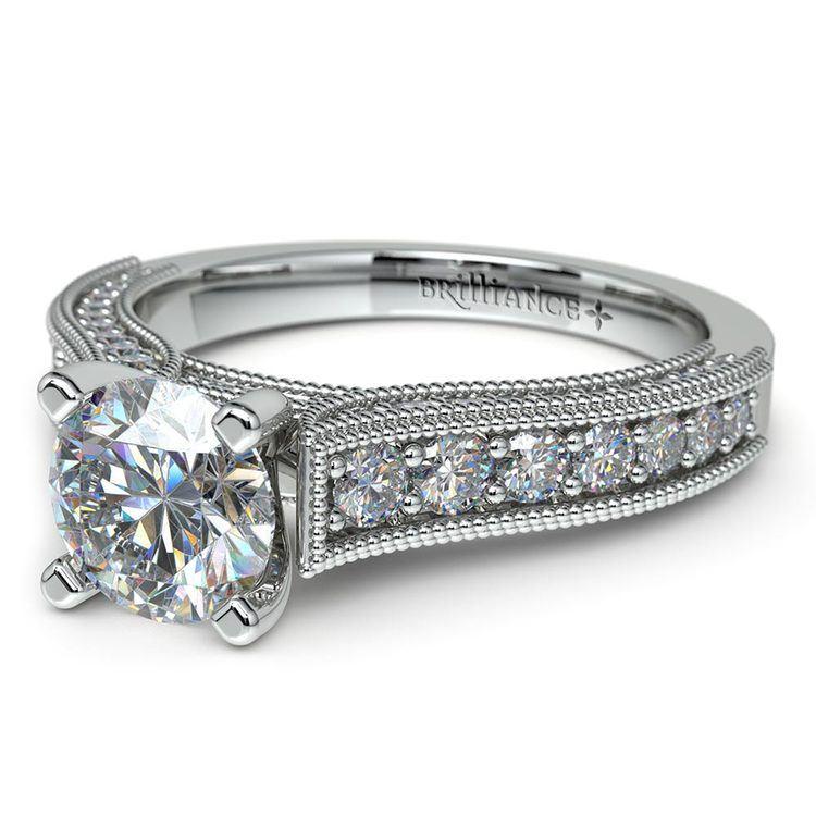 Vintage Milgrain Diamond Engagement Ring in Platinum   04