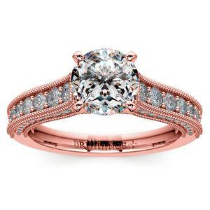 Vintage Milgrain Diamond Engagement Ring in Rose Gold