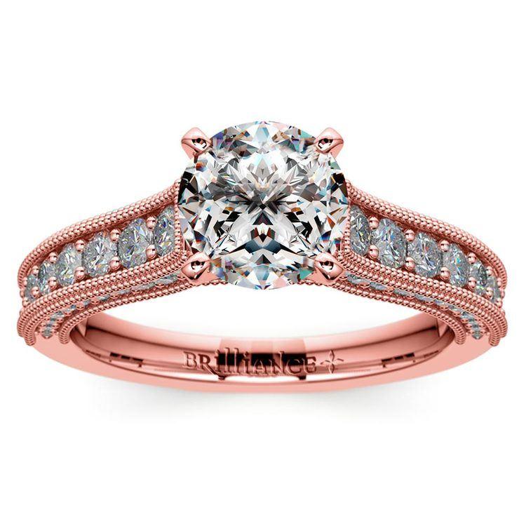 Vintage Milgrain Diamond Engagement Ring in Rose Gold | 01